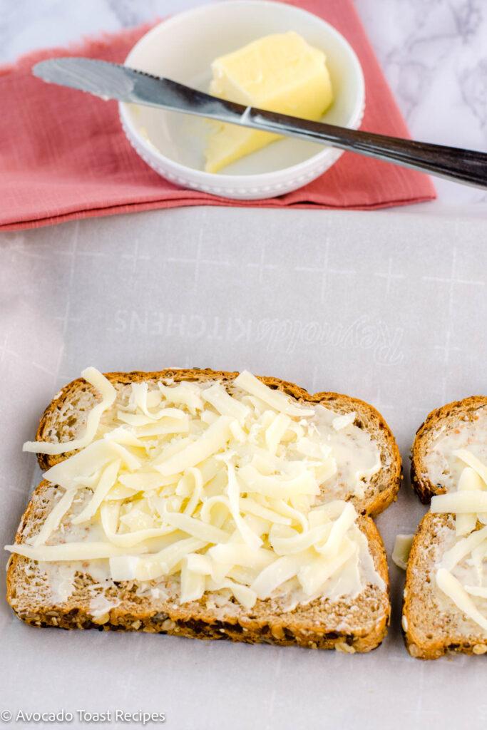 Mozzarella cheese on avocado toast