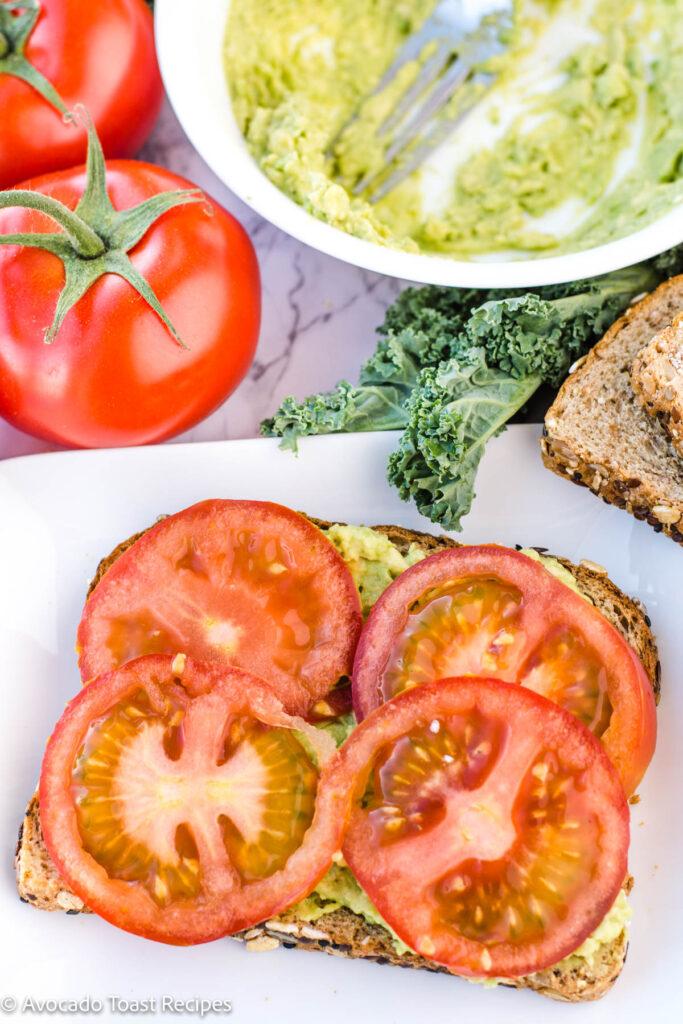tomato slices avocado toast