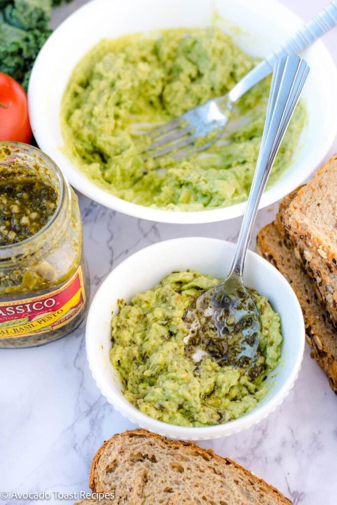 pesto added to mashed avocado