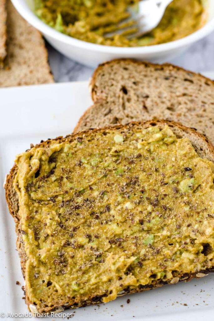 Ground flaxseed on avocado toast