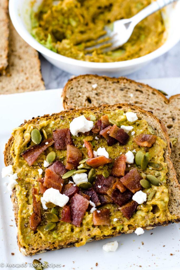 Feta cheese on avocado toast