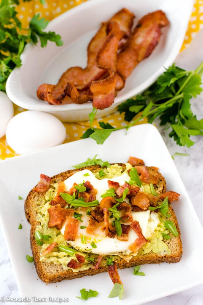 Bacon and egg avocado toast